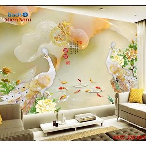 Gạch Tranh 3D Chim Công CCM59