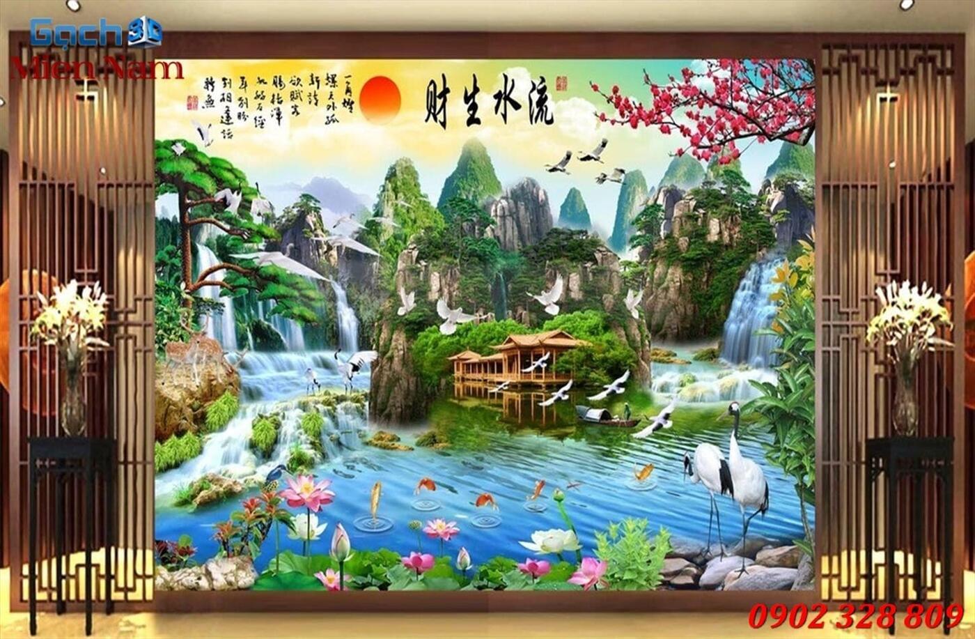 Gạch Tranh 3D Sơn Thủy Hữu Tình STM356