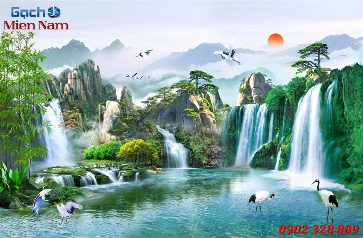 Gạch Tranh 3D Sơn Thủy Hữu Tình STM334