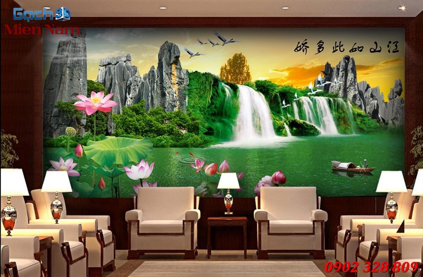 Gạch Tranh 3D Sơn Thủy Hữu Tình STM364