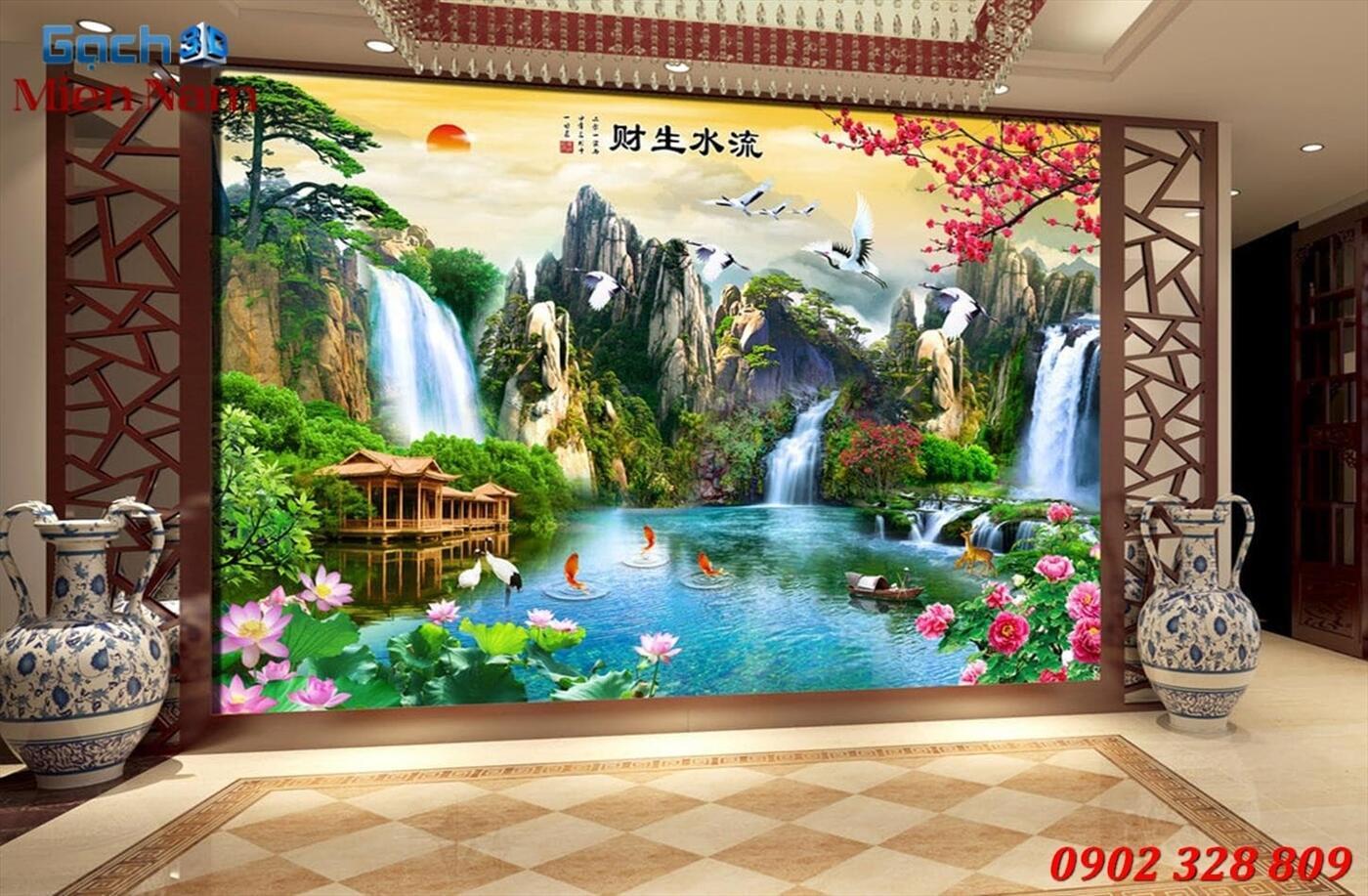 Gạch Tranh 3D Sơn Thủy Hữu Tình STM370