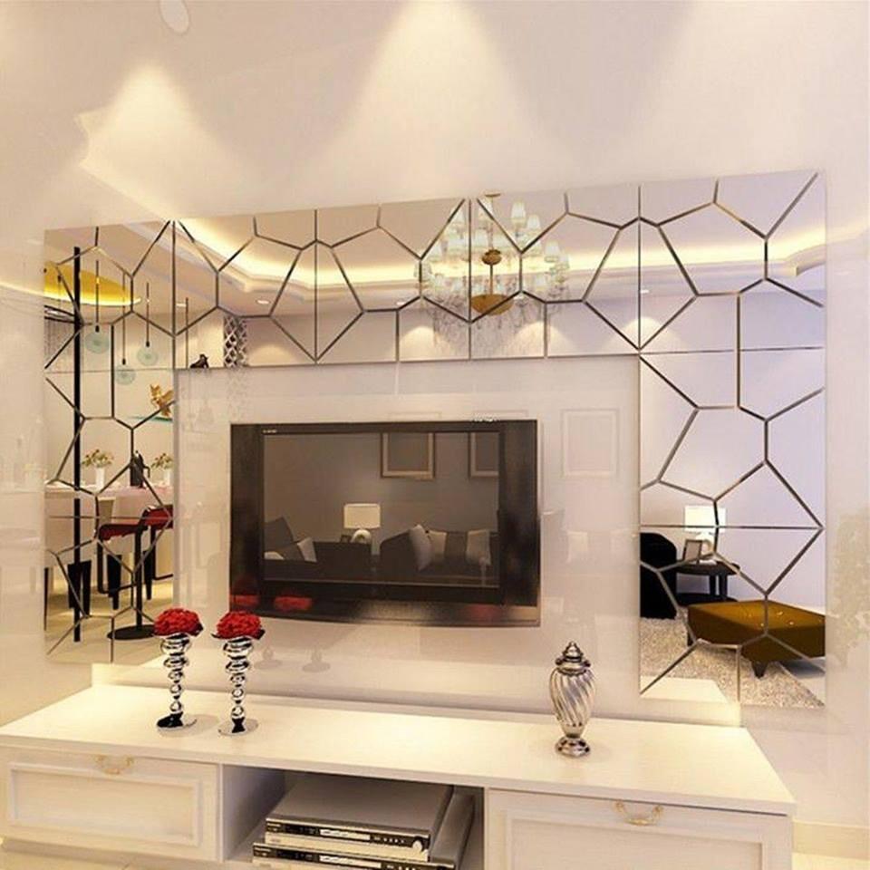 Gương điêu khắc trang trí tường sofa