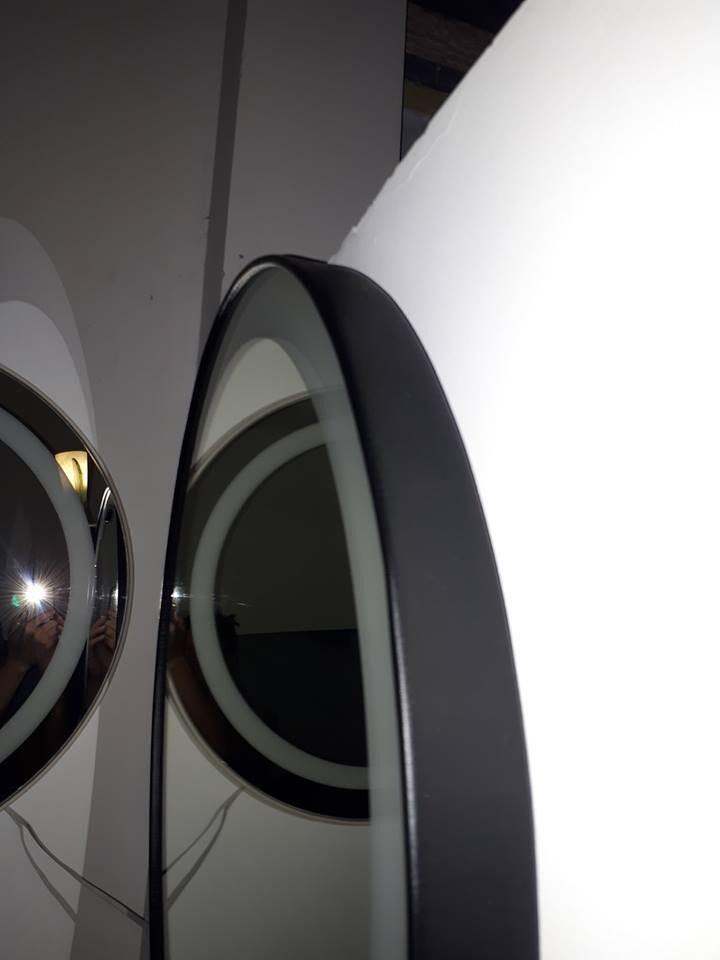 Gương toilet có đèn led khung bọc da Citybuilding CBJ 022C