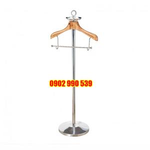 Giá treo áo vest gỗ inox trắng