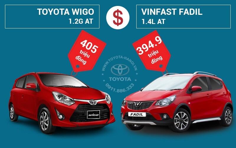So sánh giá bán Toyota Wigo và VinFast Fadil
