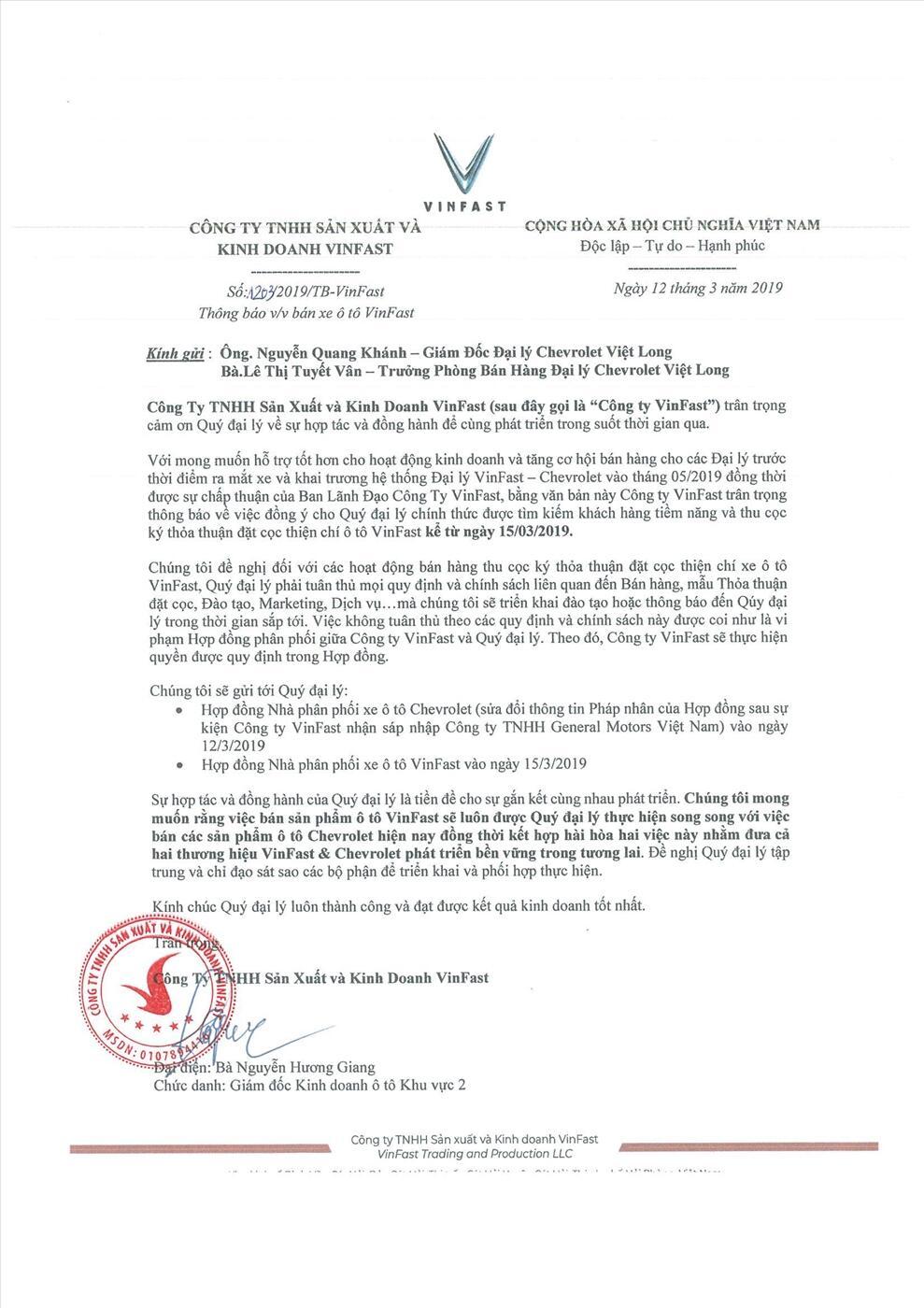 Văn bản từ phía đại diện của VinFast xác nhận đại lý Chevrolet Việt Long là nhà phân phối chính hãng xe ô tô VinFast từ ngày 15/03/2019