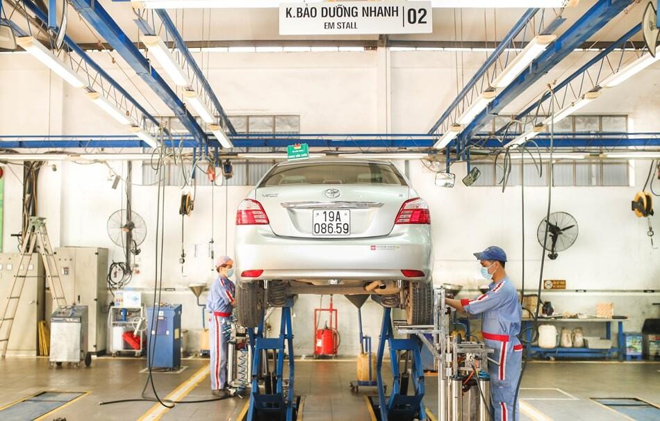 Khu vực sửa chữa tại Toyota Hoài Đức