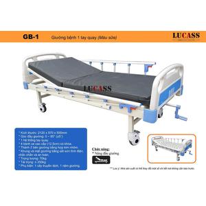 Giường bệnh 1 tay quay Lucass GB-1 (màu sữa)