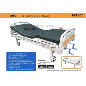 Giường bệnh 2 tay quay Lucass GB-2 (màu sữa)