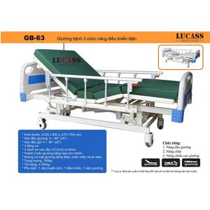 Giường bệnh 3 chức năng điều khiển bằng điện Lucass GB-63