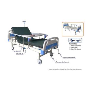 Giường bệnh 3 tay quay có bô vệ sinh Lucass GB-T43