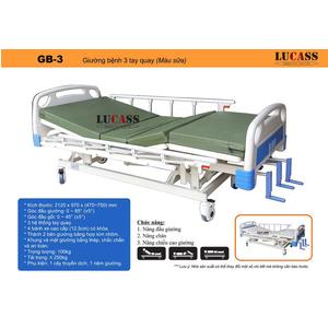 Giường bệnh 3 tay quay Lucass GB-3 (màu sữa)