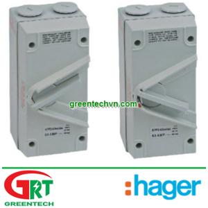 Hager JG263S | 63A 2 pole IP65 Isolator Hager JG263S | Cầu dao cách ly Hager JG263S | Hager Vietnam