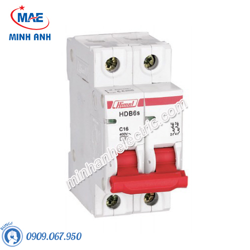 MCB 2P 10A 6kA - Model HDB6SN2C10
