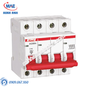MCB 4P 16A 6kA - Model HDB6SN4C16