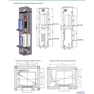 Hệ thống thang tải khách loại không có phòng máy