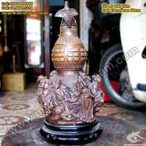 Hồ lô bát tiên đồng giả cổ Bát Tiên Quá Hải cao 20cm
