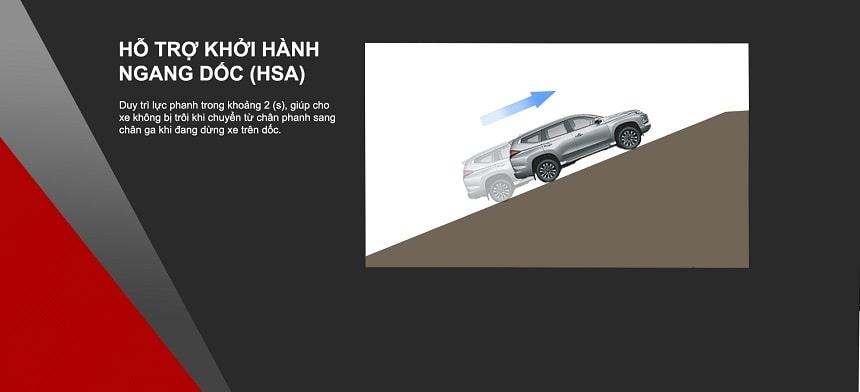 Hỗ trợ khởi hành ngang dốc HSA trên Pajero Sport