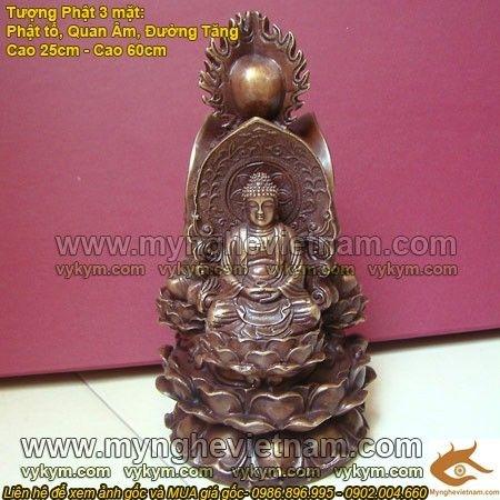 Hoa đài Tam tôn,Tượng Phật Ba Mặt, tọa thiền đài sen, tượng Phật Bà, Tượng Phật Tổ, Địa Tạng Bồ Tát