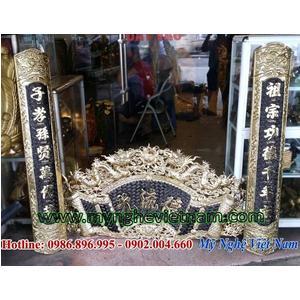 Hoành phi câu đối máng ốp cột bằng đồng dành cho nhà thờ gia đình