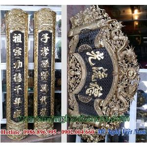 Bộ cuốn thư câu đối Đức lưu quang ốp cột thờ cúng