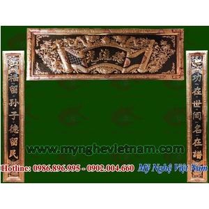 Hoành phi câu đối bằng đồng khung đồng Đức Lưu Quang 1m76