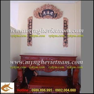 Hoành Phi Câu Đối đồng đỏ 1m55 trang trí bàn thờ gia tiên