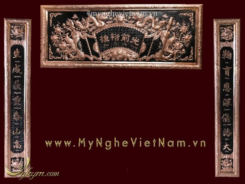 Bộ đại tự câu đối khung đồng đỏ nguyên chất treo bàn thờ đẹp