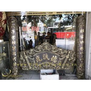 Hoành phi câu đối cuốn thư tứ linh long ly quy phụng 1m65 đồng giả cổ