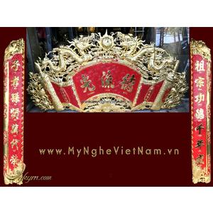 Cuốn thư câu đối mạ vàng nano cao cấp dùng trong thờ tự