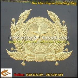 Huy hiệu Công An,kích thước 2,1m, chế tác sản xuất bằng phương pháp gò đồng