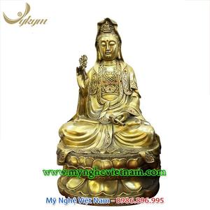 Tượng Phật Bà Quan Âm bồ tát đồng vàng 53cm