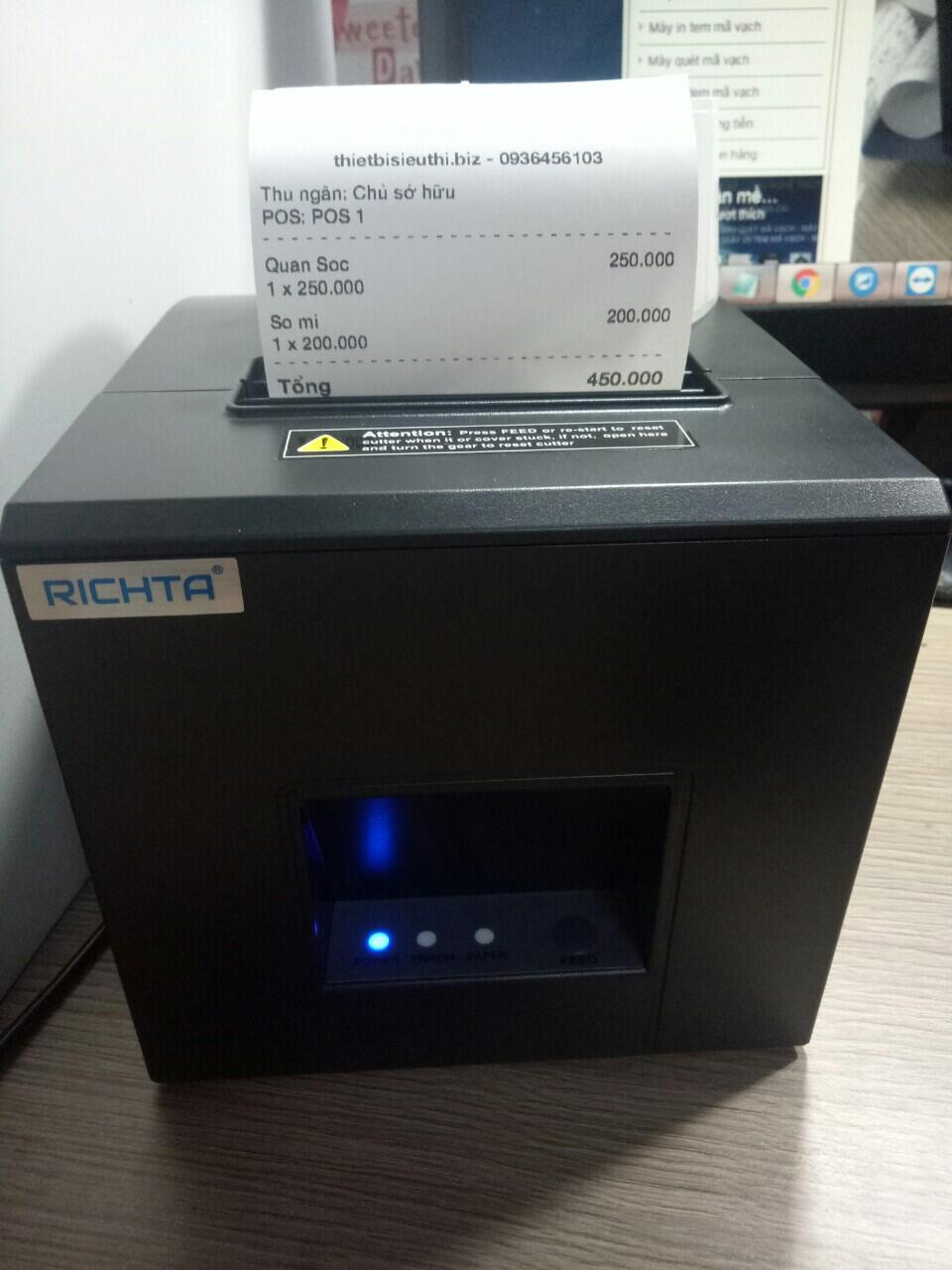 Máy in hóa đơn bán hàng trên điện thoại - Máy in Richta R82M