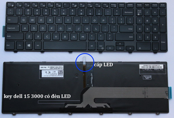 bàn phím dell 3568 có đèn bàn phím