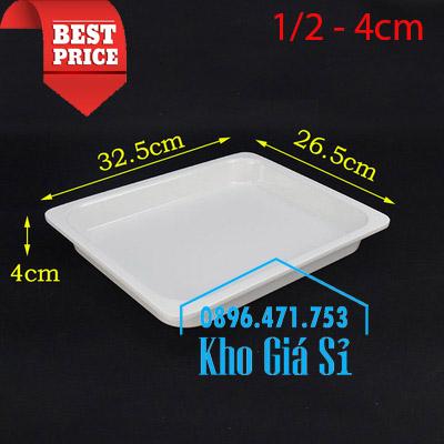 Khay melamine trắng 1/2 chiều cao 4cmm đựng thức ăn