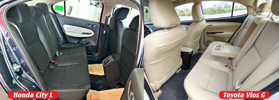 khoang nội thất rộng rãi trên Vios G và Honda City L
