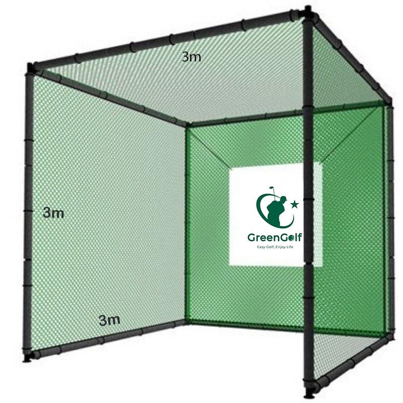 Khung Tập Golf Kích Thước 3x3x3m, Bao Gồm: Khung Sắt Tĩnh Điện Bọc Bảo Ôn/ Lưới HDPE + Lưới Giảm Chấn/ Hồng Tâm