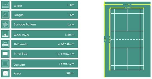 Kích thước thảm sân cầu lông Enlio A-29145