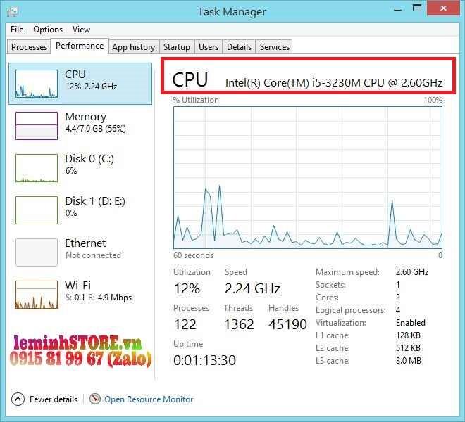 Kiểm tra tốc độ CPU laptop