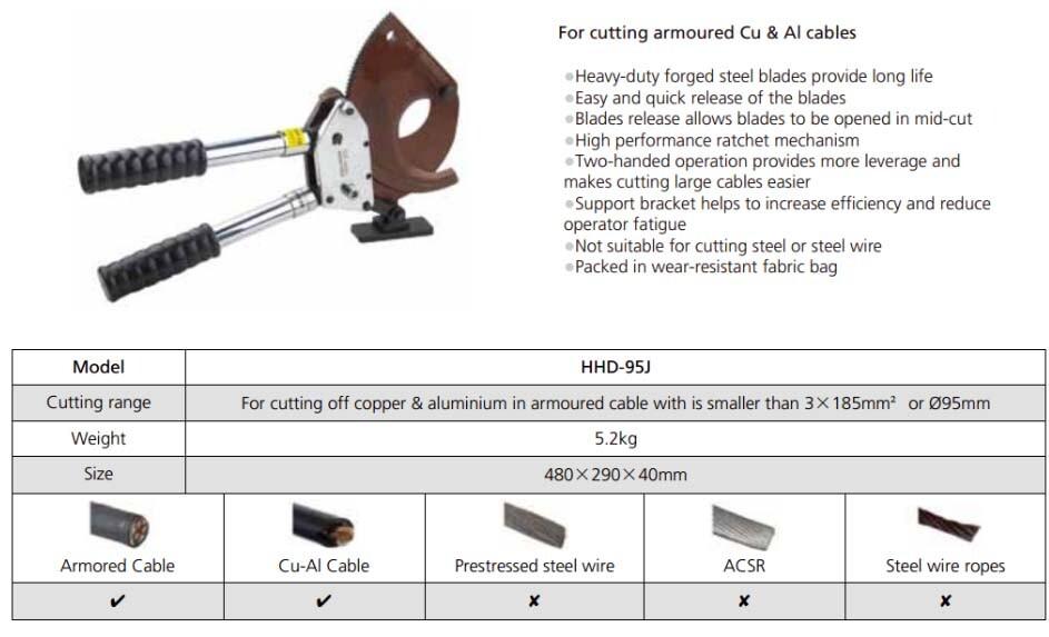 Kìm cắt cáp nhông HHD-95J - Thông số kỹ thuật