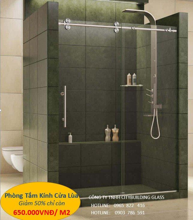 kính phòng tắm cửa lùa