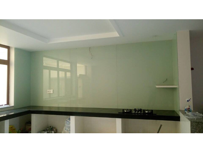 Kính cường lực sơn màu ốp bếp - kính màu trang trí phòng bếp