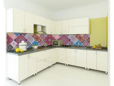 Kính màu ốp bếp giả gạch - Kính màu trang trí phòng bếp