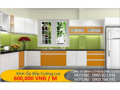 Kính ốp bếp màu xanh lá