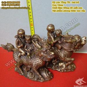 Kỳ lân Tống Tử, hai trẻ cưỡi kỳ lân, cầu con quý tử, vật phẩm phong thủy