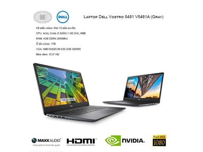 Laptop Dell Vostro 5481-V5481A Grey - CPU i5-8265U,Ram 4GB,HDD 1TB, Nvidia MX130 2GB GDDR5 Mới