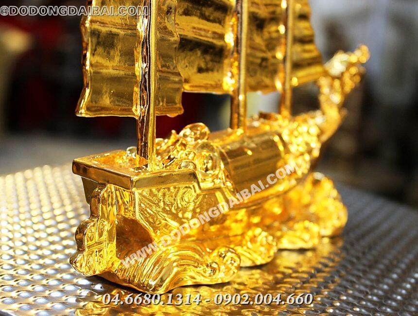 Thuyền đồng mạ vàng cao 16cm