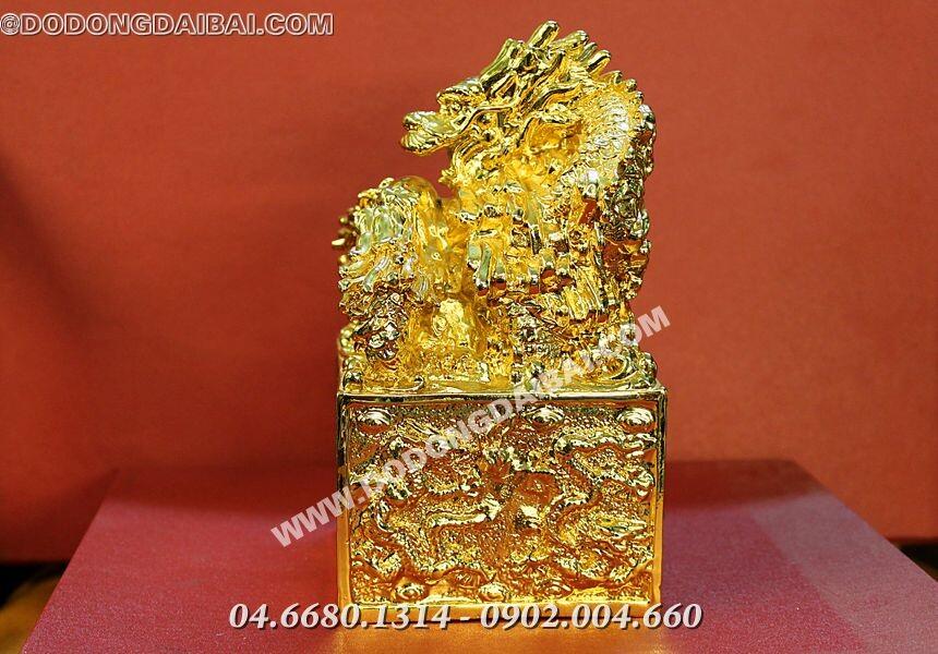 Ấn rồng cửu long mạ vàng tĩnh điện 24k cao 18cm