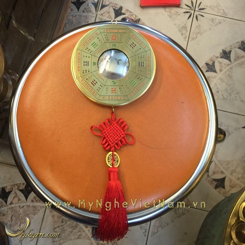 Gương cầu lồi bằng đồng mặt bát quái và 8 quẻ 12cm