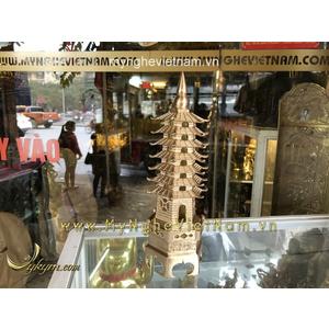 Tháp văn xương cao 26cm 7 tầng bằng đồng đúc tinh xảo